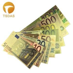 8 шт./компл., евро банкноты 5-1000 евро, золотая фольга, поддельные деньги для сбора и подарка