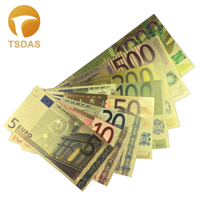 8pcs/Set <font><b>Euro</b></font> <font><b>Banknotes</b></font> 5-1000 EUR Gold Foil <font><b>Banknote</b></font> Fake Money For Collection and Gifts image