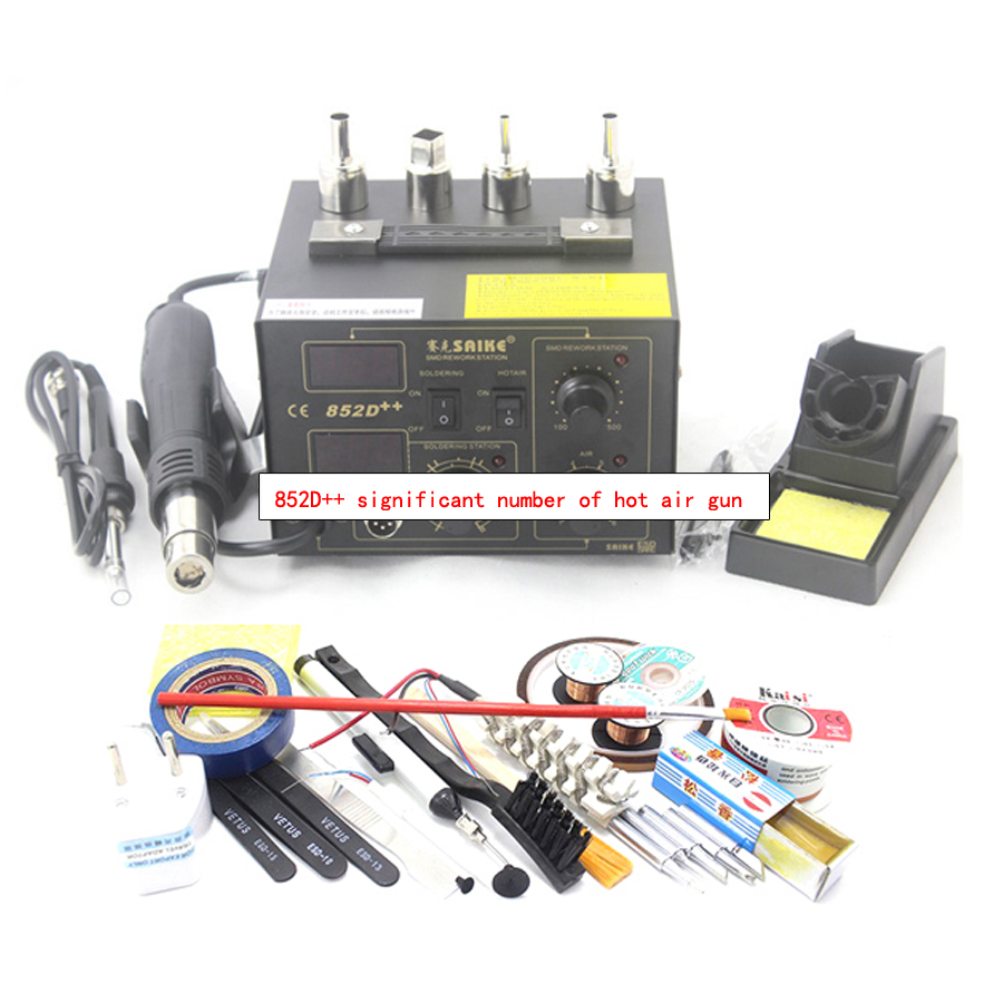 1pc Hot Air Desoldering Station Hot Air Rework Soldering Station 220V/100V 700W Hot Air Gun Soldering, 852D++ black plain cold shoulder