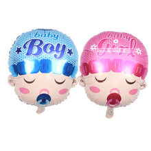 Birthday party arrangement of big head doll; male and female baby aluminium film balloons angel pacifier balloons(China)