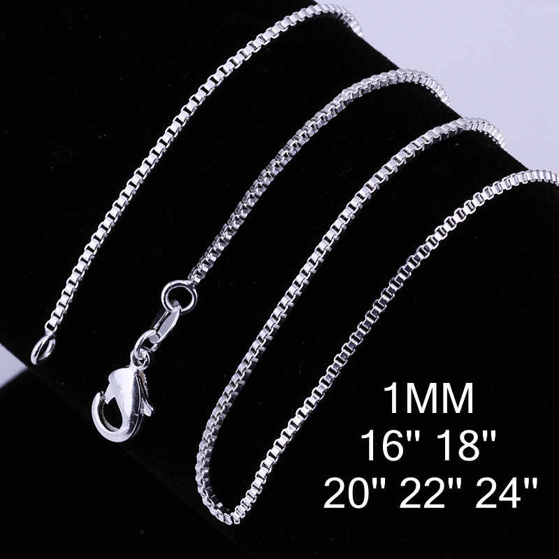 16-24inch Charms wedding party 1MM Box style chain silver color cute women Men necklace jewelry silver fashion hot sale C007