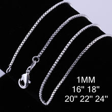 16-24inch Charms wedding party 1MM Box style chain silver color cute women Men necklace jewelry silver fashion hot sale C007(China)