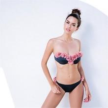 fc0ed76ce43 New 3D Floral Women Bikini set Chic Honolulu Crochet Flower Push Up Swimwear  Hot Swimsuit Ins