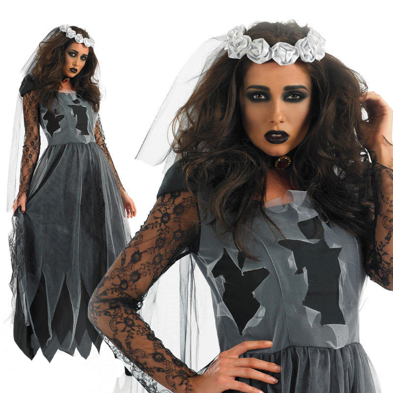 halloween costume for women sexy zombie costume cos role playing female devil bride scary clothing - Cheap Creepy Halloween Costumes