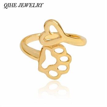 Joyería qihe pata perro huella de pie mascota y colgante de corazón anillo abierto Ajustable Animal perro joyería para mujeres