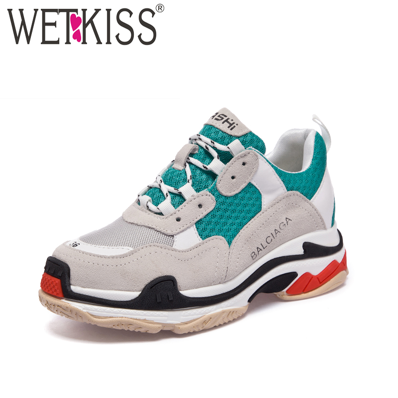 WETKISS Fashion Casual Clunky Shoes New Dorky Dad Shoes Spring Women Flats Mesh Lace Up Sneakers Cow Suede Platform Footwear аксессуар чехол apple iphone x silicone case red mqt52zm a