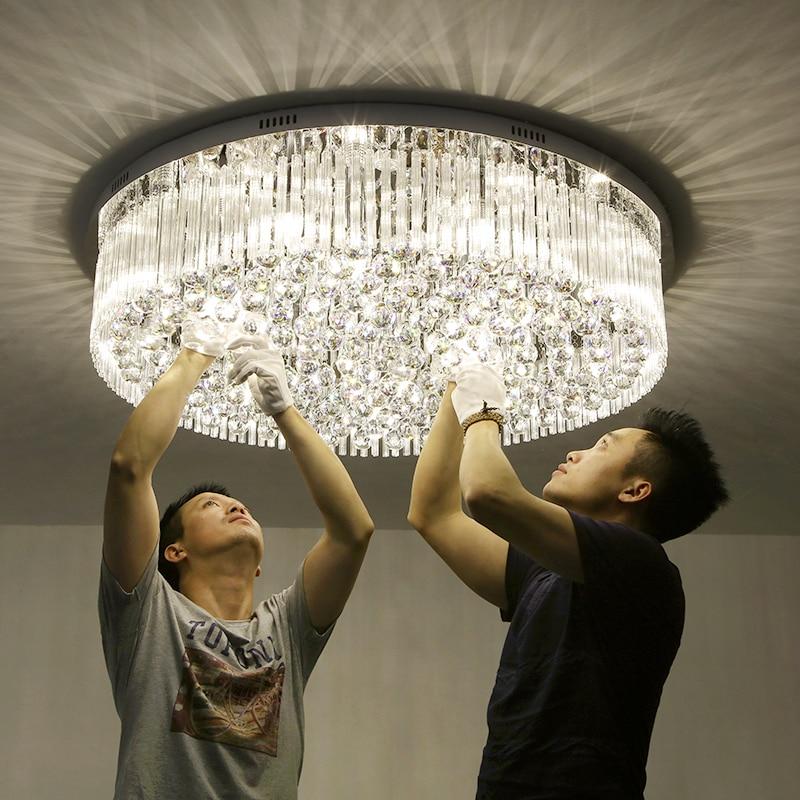 Soggiorno luci lampade di cristallo rotondo soffitto lampade moderne semplice camera da letto luci calde luci di sala ristorante luci lampade a led