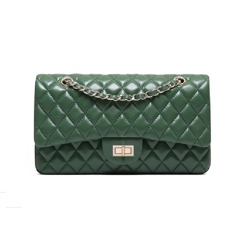 Caker Brand 2018 Fashion Women Diamond Lattice bag genuine leather shoulder bags crossbody bag green women chain shoulder bags women shoulder bag cossbody handbag genuine first layer of cow leather 2017 korean diamond lattice chain women messenger bag