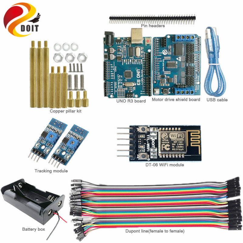 DOIT 1 set WiFi Control Tracking kit for Robot Tank Chassis with Arduino UNO R3 Board+Motor Drive Shield Board+Tracking Module 5v 2 channel ir relay shield expansion board module for arduino with infrared remote controller