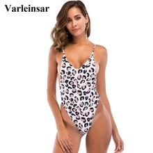 4cc96a57b7c3 Leopardo Banhista 2018 New Sexy alta perna cortada uma peça swimsuit  Backless Swimwear mulheres maiô natação desgaste Monokini f.