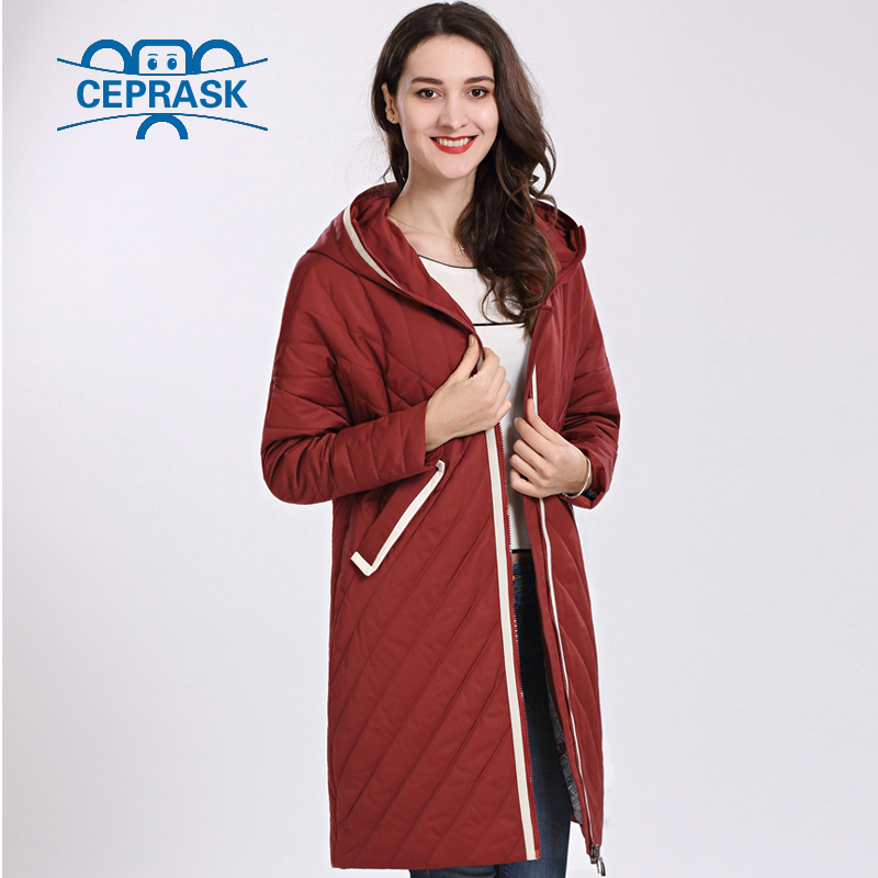 CEPRASK 2019 High Quality Women's Coat Spring Autum Female Windproof Thin Parka Long Plus Size Hooded New Designs Women Jackets