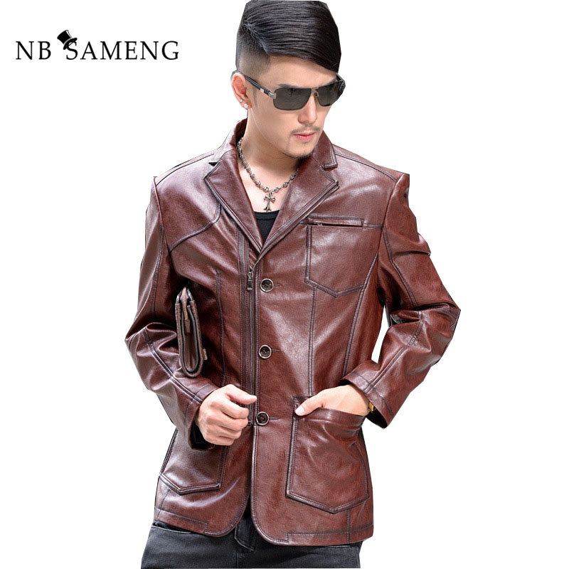 2018 New Fashion Autumn Winter Real Leather Jackets Male Brand Solid Colour Long Style Coat Casual Slim Genuine Leather Jacket
