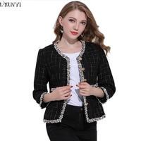 LXUNYI Tweed Jacket Coat 2018 Spring Autumn Short Ladies Woolen Coats Long Sleeve Slim Tassel Plaid