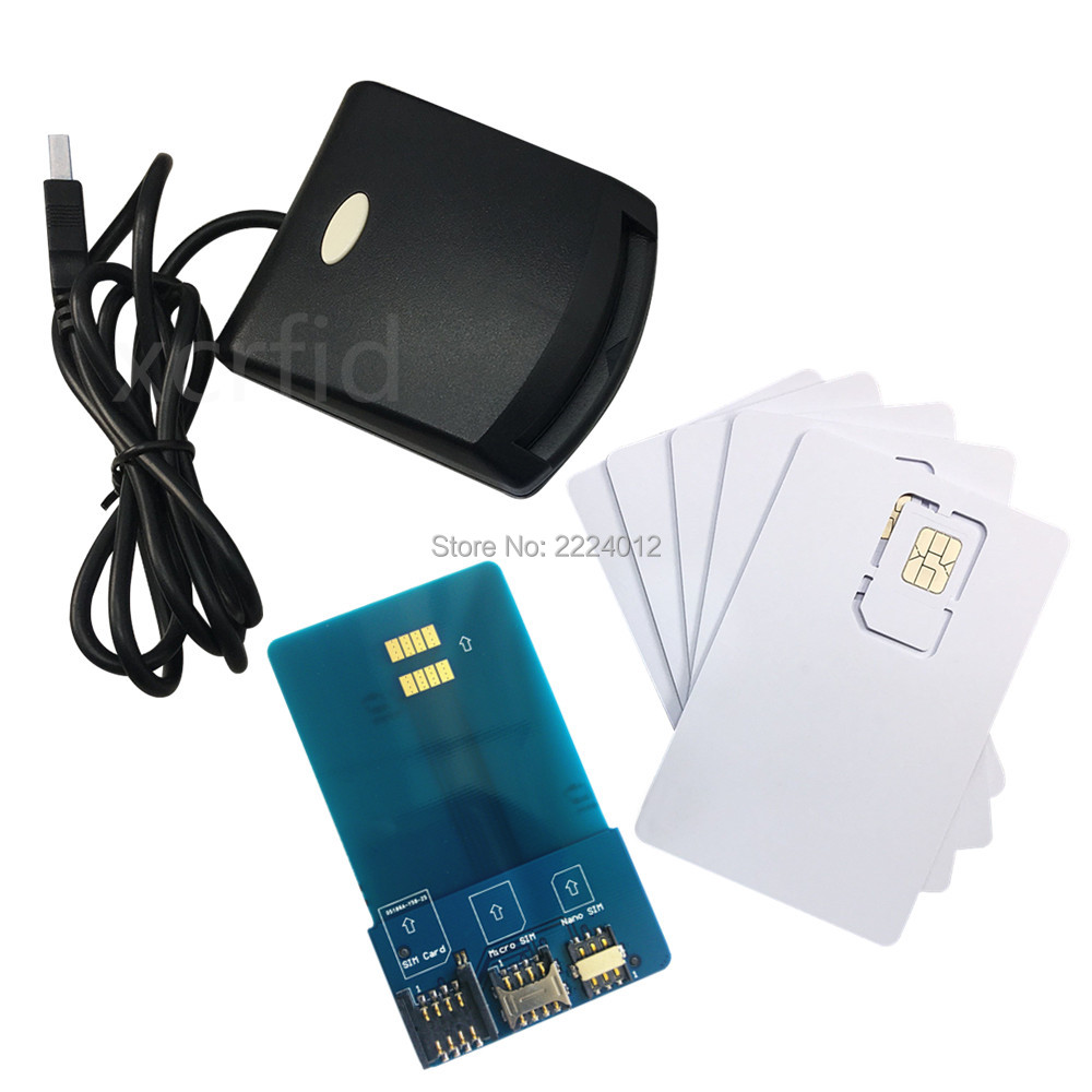 LTE WCDMA ICCID SIM USIM 4G secure card reader writer programmer with 5pcs blank programable card