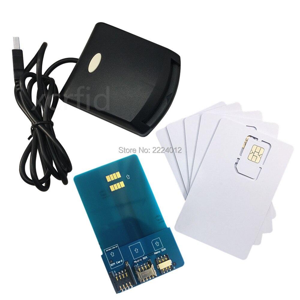 LTE WCDMA ICCID SIM USIM 4g sécurisé lecteur de carte écrivain programmeur avec 5 pcs blanc programmable carte + SIM personnaliser outils