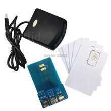 Lte wcdma iccid sim usim 4g, leitor de cartão seguro, programador gravador com 5 peças cartão programável em branco + sim ferramentas personalizadas,
