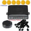 best selling 6 Sensors Buzzer Car auto Parking Sensor Kit Reverse Backup Radar Sound Alert System 12V 44 Colors selection