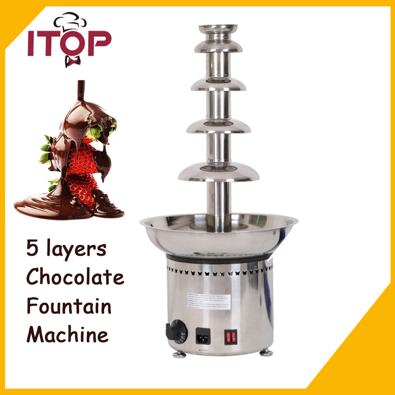 ITOP 5 Tiers Stainless Party Hotel Commercial 27 Chocolate Fountain 4kgs Chocolate 110V/220V/240V
