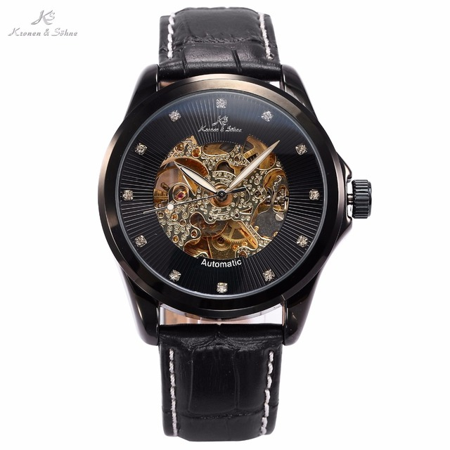 KS Royal Carving Skeleton Luxury Black Leather Strap Business Dress Wrap Christmas Gift Automatic Mens Mechanical Watches /KS103