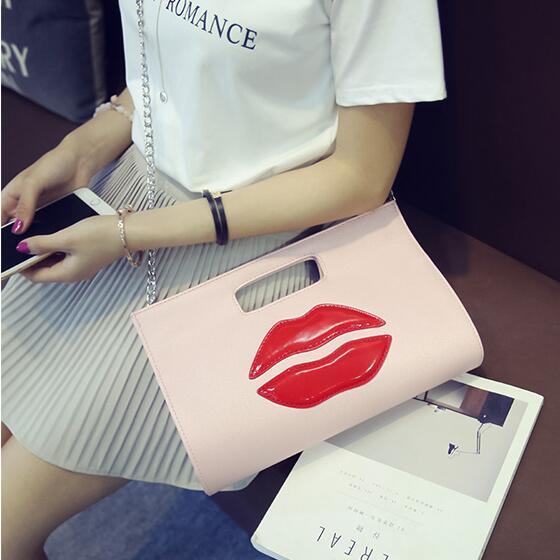Free shipping Japan Korea fashionable new tide fashion sexy red lips Shoulder Messenger handbag
