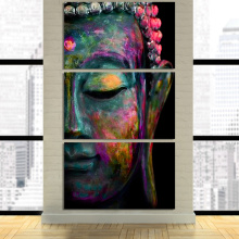 3 Pieces unframed HD printed canvas art abstract Buddha Face Modular Framed posters wall pictures for