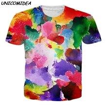3231208df68e UNICOMIDEA Watercolor Novelty Graffiti Tops Printed Short Sleeve Tees Men  Women 3D