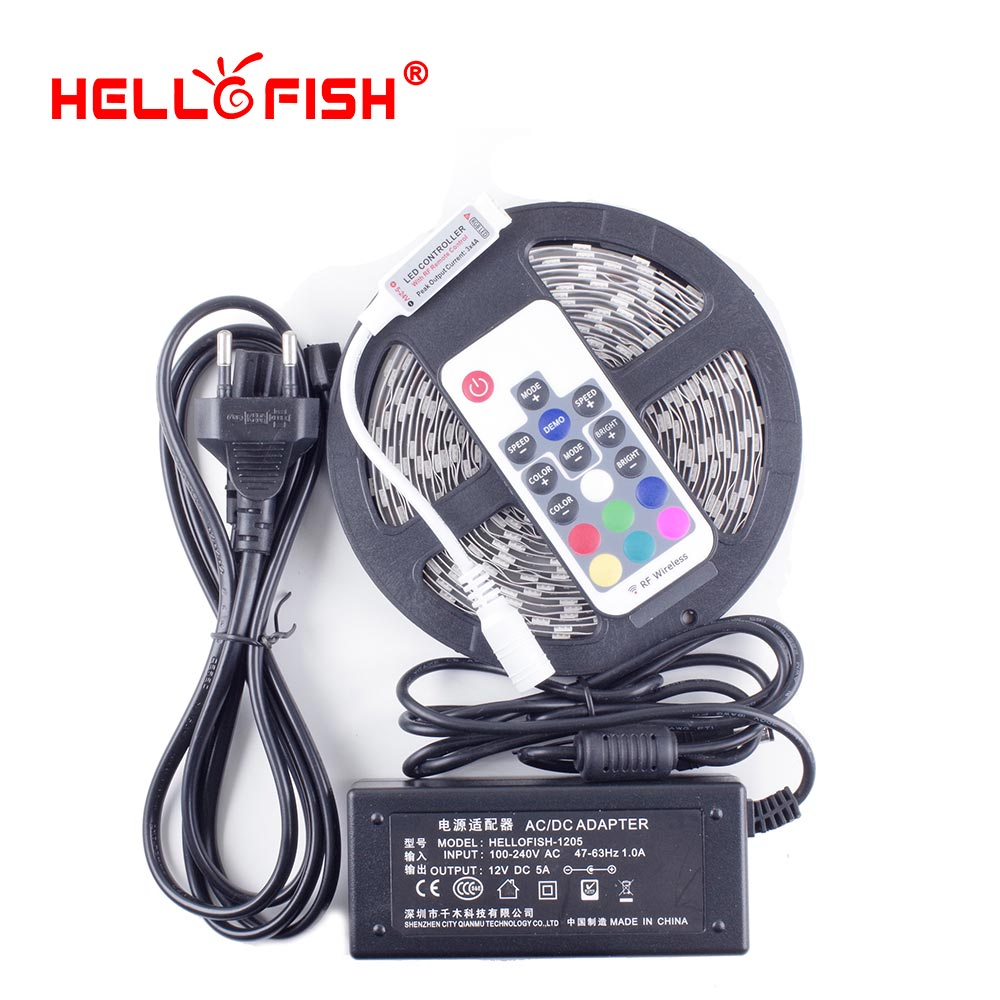 Hello Fish High Quality 5M 300 SMD 5050 LED Strip + RF Wireless Controller Remote + DC 12V 5A 60W Power Adapter Complete Set 300 5050 smd led 6500k white light strip led dimmer 12v 5a power converter us plug adapter set