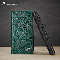 Fierre Shann For Iphone 6s 7 Leather Top Quality Crocodile Flip Case Cover For Iphone 6s