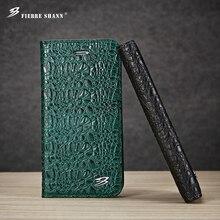 Fierre шенн для iphone 6s 7 плюс кожа высшего качества крокодил flip case для galaxy s8 плюс s8 раскладушка с гнездами для карт крышка