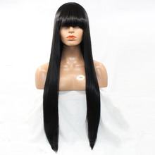 DLME Heat Resistant Hair Long Silk Straight Synthetic Lace Front Wig With Full Bangs 3 Combs Inside Black Color for Women