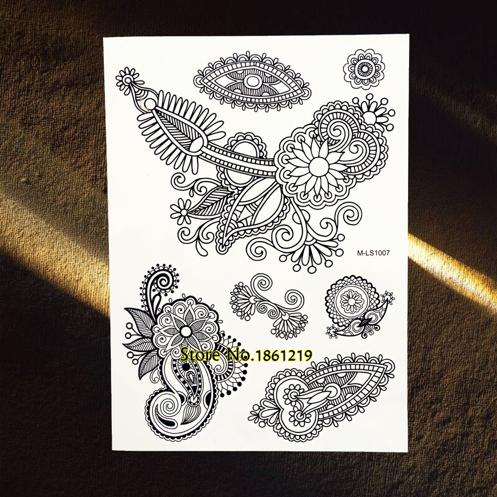 25 Trendy Henna Tattoo Designs To Try For Your Hands: Trendy Women Fashion Temporary Tattoo Black Ink Henna Body
