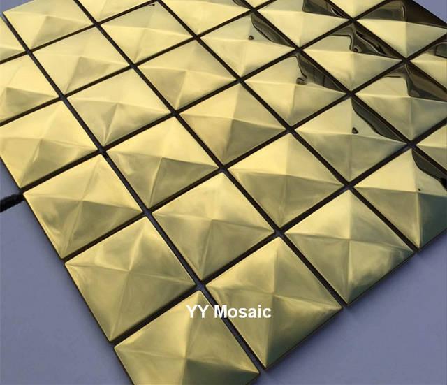 Online Shop Spiegel Polised Pyramid Gold Edelstahl Metall Mosaik