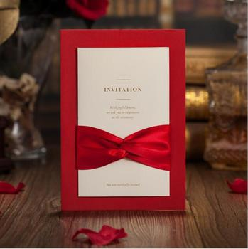 Free Shipping 50PCS/LOT Red Ribbon Style Wedding/ Business Invitation Card With Envelope