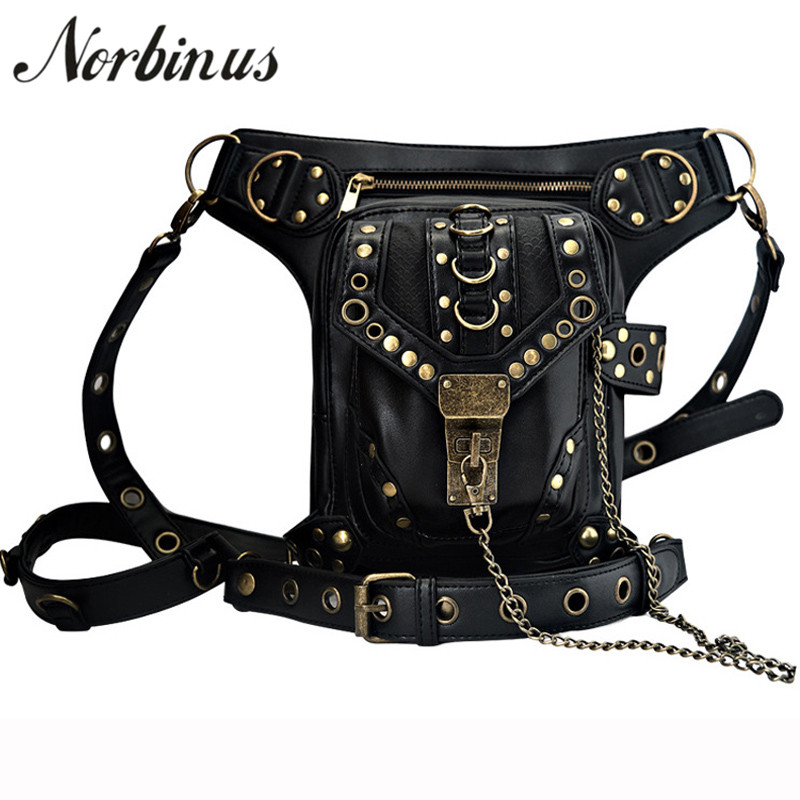 Norbinus Punk Rock Leather Messenger Shoulder Bags Men Women Retro Gothic Leather Waist Fanny Packs Female