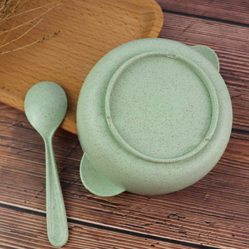 Tarwe Stro Voedsel Kom Kinderen Rijst Voedsel Container Servies Biologisch Afbreekbaar Student Diner Doos Met Scoop Soepkom Dubbele Oor