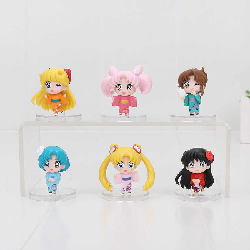6Pcs/lot Sailor Moon kimono chibi moon Mars Jupiter Venus Mercury Q Version anime Pvc Action Figure Model Toy pendants keyring