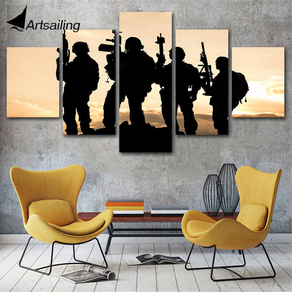 HD Printed 5 Piece Canvas Art contribute to Army Soldier Sunset Painting Wall Pictures for Living Room Canvas Posters and prints