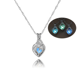 Openwork Love Heart luminous necklaces Fashion Glow In The Dark stone cage pendant necklace For women Girls Jewelry