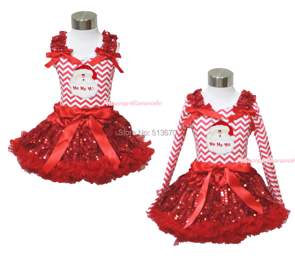 XMAS Santa Claus Head Print Red White Chevron Top Sparkle Sequins Pettiskirt Girl Outfit 1-8Y MAPSA0096 my 1st christmas santa claus white top minnie dot petal skirt girls outfit nb 8y