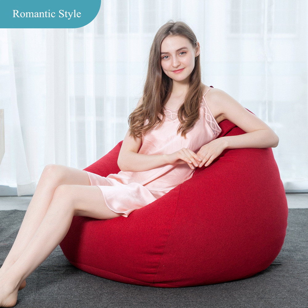 Creative Solid Bean Bag Sofa Soft Single Lazy Beanbag Chair Living Room And Bedroom Leisure Sofa Bed Tatami Couch With Filler children dinosaur bean bag lazy sofa comfortable living room leisure bean bag sofa students kids tatami chair