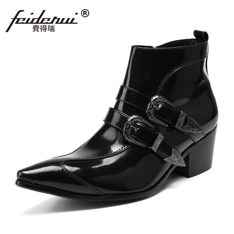Preto Martin Artesanal Plus Size Dedo Sapatos top Homem Monge Apontado Homens Ankle Alto Dos De Couro Salto Cowboy Tiras Boots Sl109 High Fg18qwg