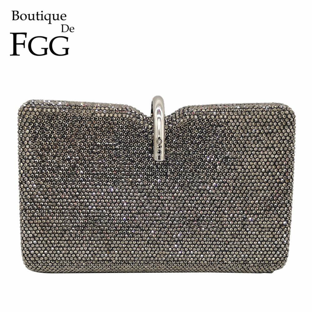 Boutique De FGG Dazzling Grey Women Crystal Evening Clutch Bags Wedding Party Handbag And Purse Bridal Diamond Clutch Minaudiere