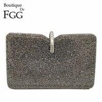 Boutique De FGG New Design Women Fashion Grey Crystal Clutch Evening Bags Bridal Diamond Clutch Wedding Party Handbag and Purse