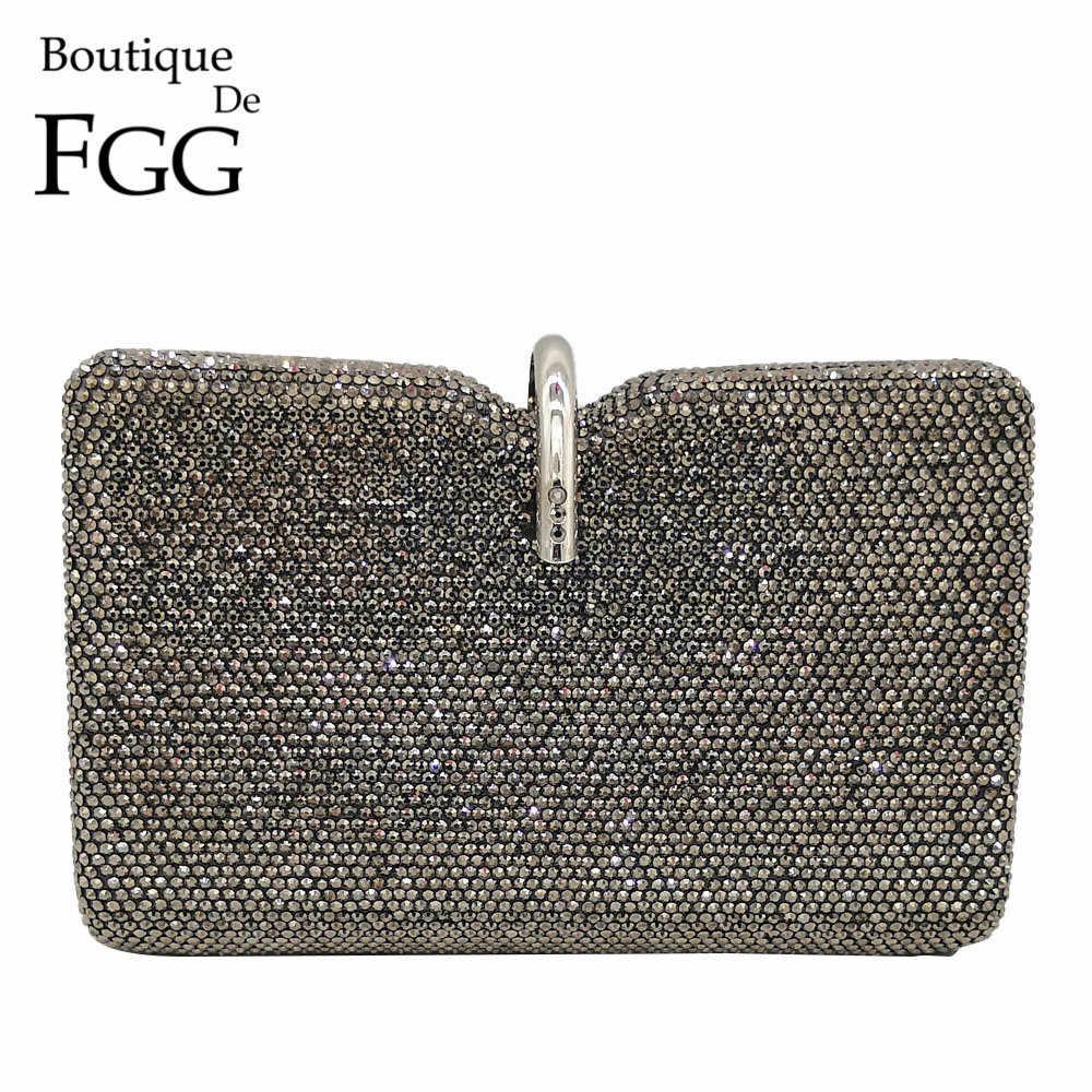 Бутик De FGG Новый дизайн Женская мода Серый Кристалл Клатч вечерние сумки свадебный с кристаллами клатч Свадебная вечеринка сумочка и кошелек