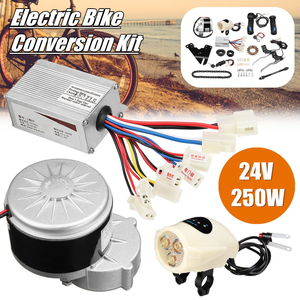 24V 250W Electric Bike Conversion Motor Controller Kit For 22-28'' Ordinary Common Electric Bicycle