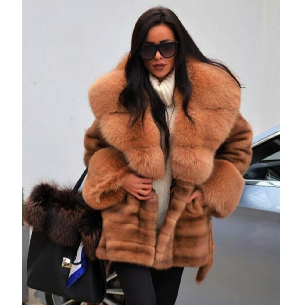 D'hiver Chaud Manteaux Véritable Ceinture Light Coffee Manuel Pelt Vison Mode Complet Fluffy Avec Col Femmes Réel Pardessus Importer Fox Fourrure De Y766wq
