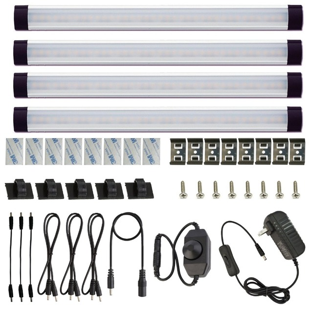 Cabinet Bar Light Kit Rigid LED Bar Light with Dimmer Switch for Under Counter Furniture Kitchen Cabinet Lighting Bar(4 Panels)