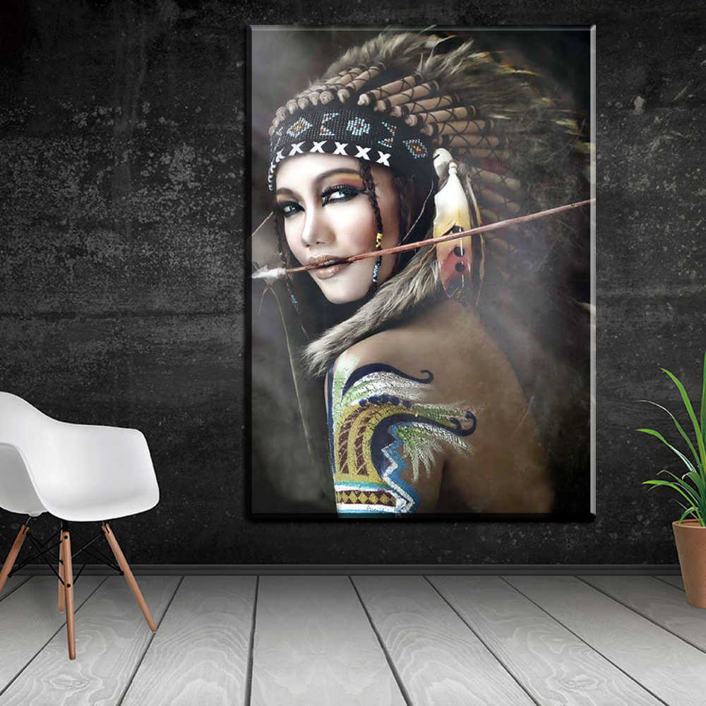 Portrait Canvas Art Wall Pictures For Living Room Indian Woman Feathered Pride Painting Home Decor Printed