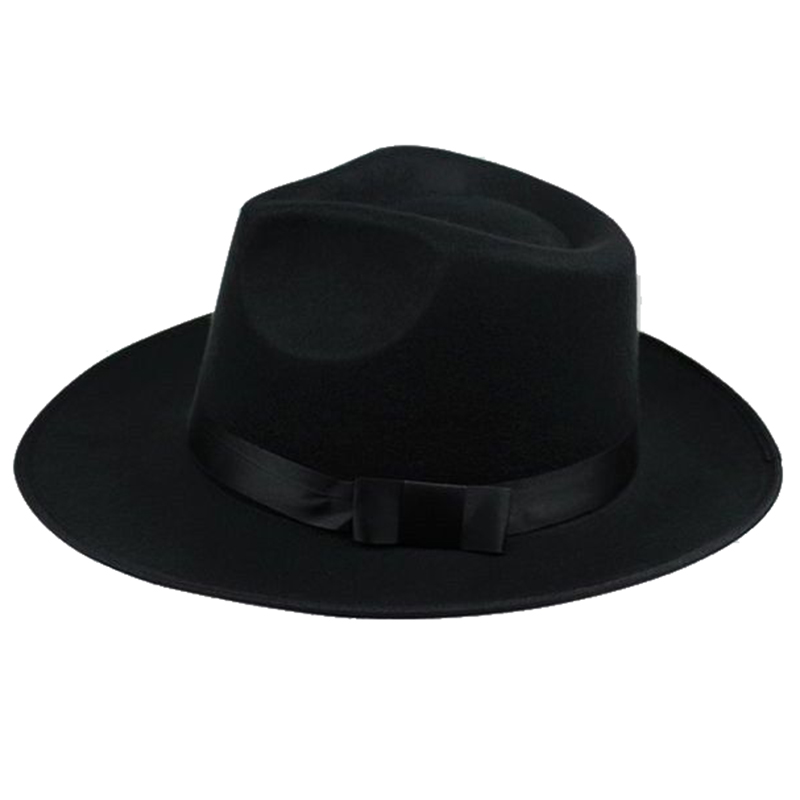 cabbbd439 US $3.78 |Fashion Vintage Men Women Hard Felt Hat Wide Brim Fedora Trilby  Panama Hat Gangster Cap Summer Spring Hard Felt Hat-in Sun Hats from  Apparel ...
