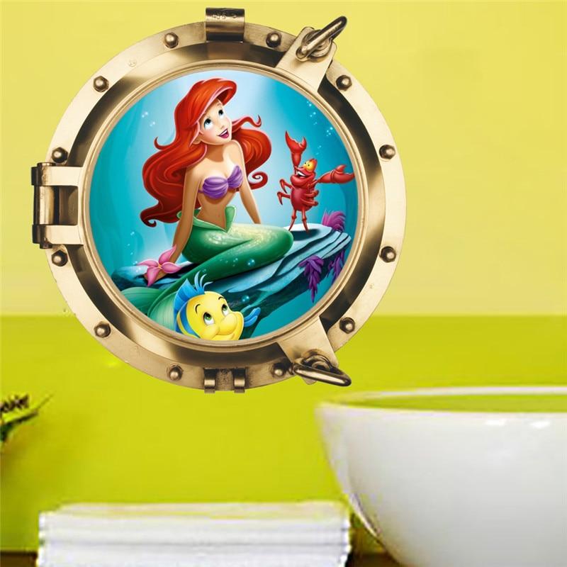 Mermaid Princess Fish Children Wall Stickers For Kids Rooms Decal Bedroom Bathroom Decor Art Mural